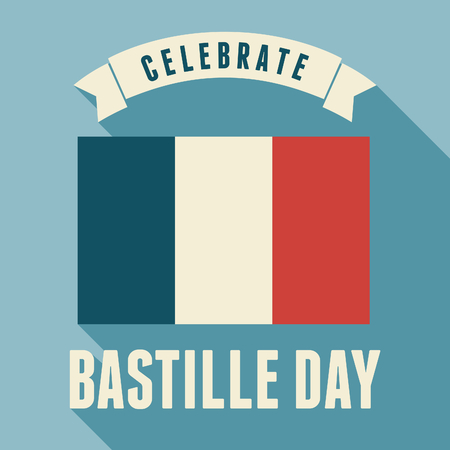 Flat design greeting card for the French National Day - July 14, Bastille Day. Vector