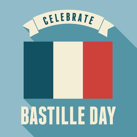 bastille: Flat design greeting card for the French National Day - July 14, Bastille Day.