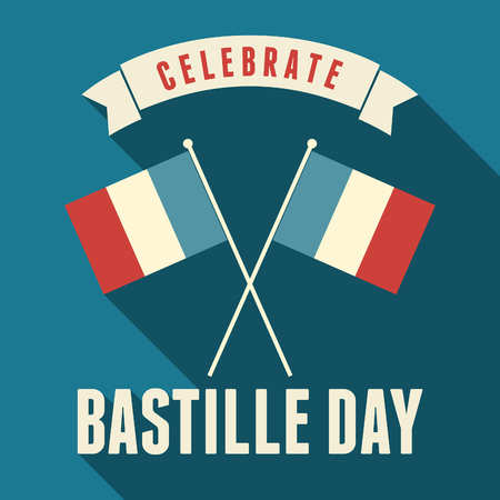 Flat design greeting card for the French National Day, July 14, Bastille Day. Vector