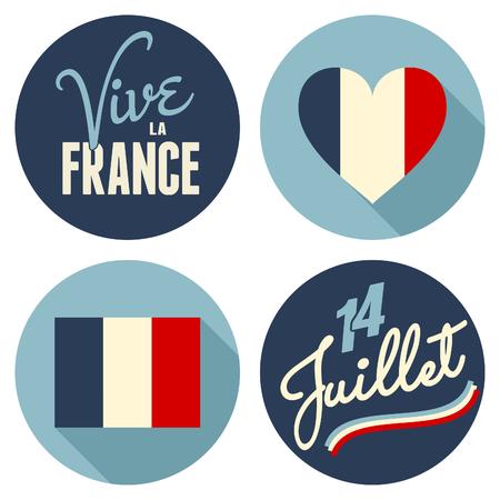 julio: Pegatinas diseño plano para el Día Nacional de Francia, el 14 de julio, Día de la Bastilla. Vive La France, ¡Viva Francia.