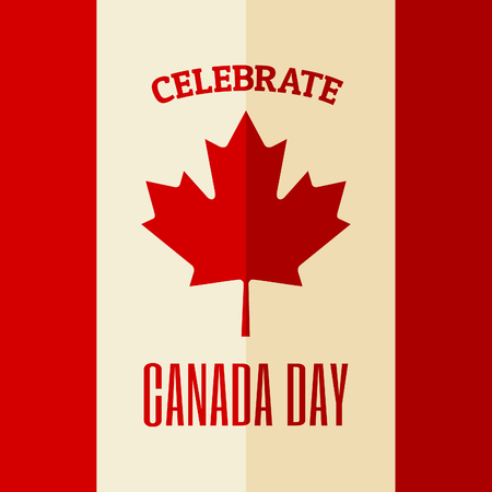 Flat design greeting card for the Canadian National Day, July 1, Dominion Day.