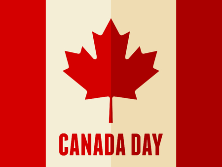dominion: Flat design greeting card for the Canadian National Day, July 1, Dominion Day.