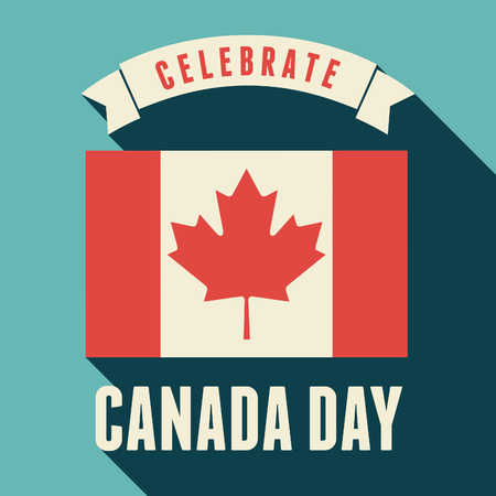 Flat design greeting card for the Canadian National Day, July 1, Dominion Day. Vector