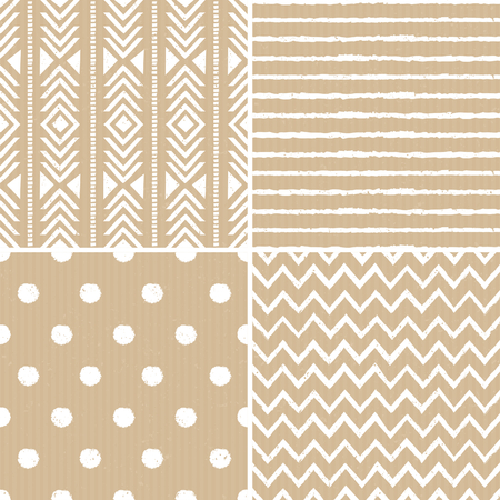 A set of four cardboard paper backgrounds with seamless aztec, stripes, polka dots and chevron patterns. Vector