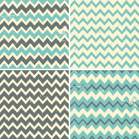 A set of four seamless vintage chevron patterns in blue, brown and cream.
