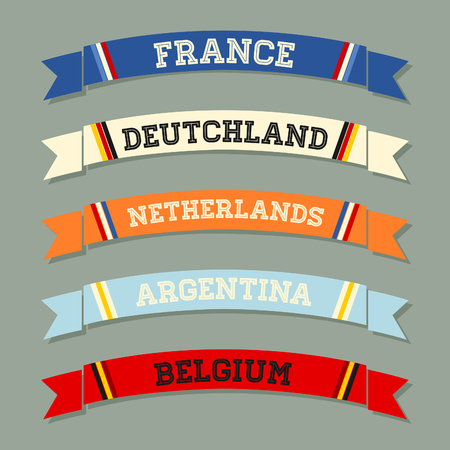 scarf: A set of flat design football banners.
