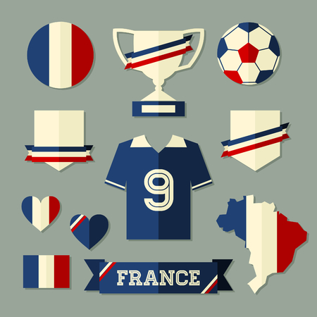 A set of flat design France football icons and symbols in blue, white and red. Vector