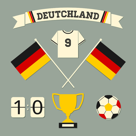 german tradition: A set of flat design Germany football icons and symbols in black, red and yellow.