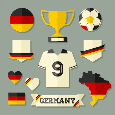 A set of flat design Germany football icons and symbols in black, red and yellow. Vector