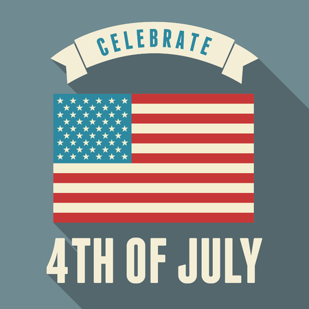 Flat design greeting card for the US Independence Day, July 4th. Vector