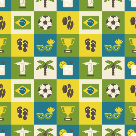 Seamless repeat pattern with Brazilian symbols in yellow, green and blue. Vector