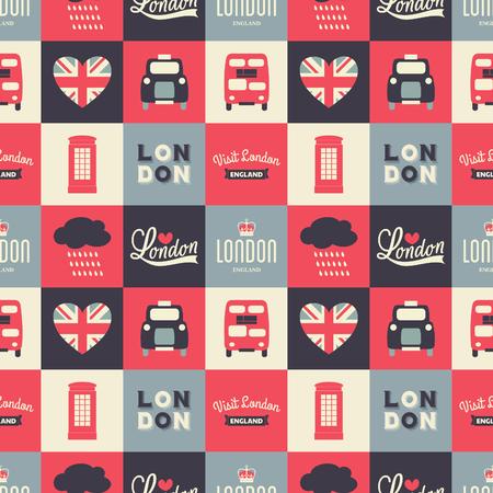 Patrón de repetición sin fisuras con los símbolos de Londres en blanco, rojo y azul. Ilustración de vector