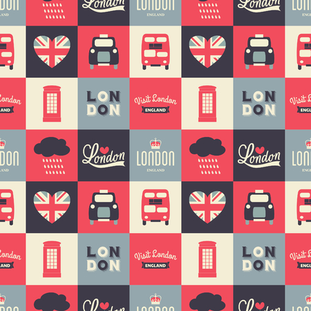 Seamless repeat pattern with London symbols in white, red and blue. Vector