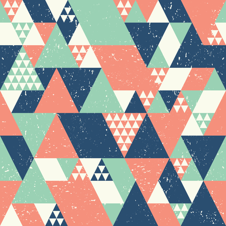 Abstract geometric background with blue, orange and green triangles.