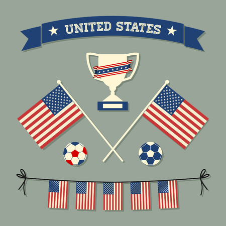 A set of flat design US soccer icons and symbols in blue, white and red. Vector