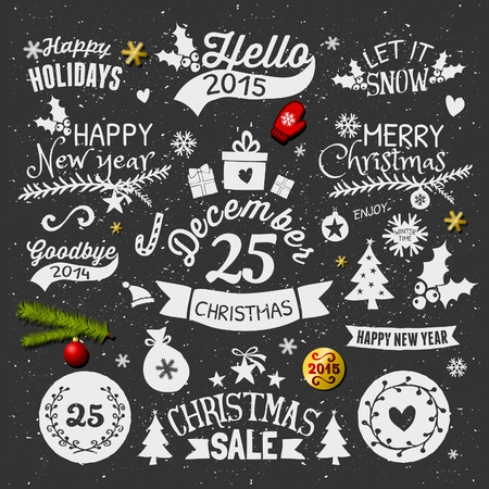 A set of chalkboard style Christmas elements. Typographic designs, hand-drawn labels, tags and embellishments. Vector