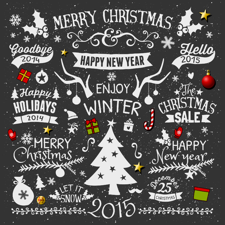 cute graphic: A set of chalkboard style Christmas elements. Typographic designs, hand-drawn labels, tags and embellishments. Illustration