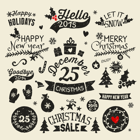 A set of vintage style Christmas and New year elements. Typographic designs, hand-drawn labels, tags and embellishments. Vector