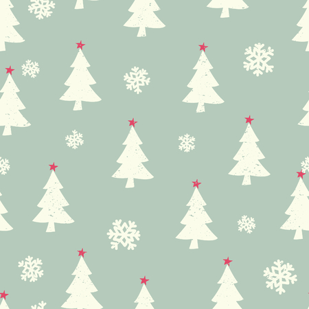 Retro style seamless Christmas pattern with Christmas trees and snowflakes. Vector