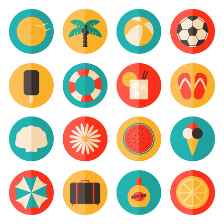 A set of flat design long shadow summer travel icons in blue, yellow and red isolated on white background. Vector