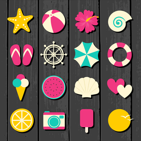 A set of colorful flat design summer travel icons on wooden background. Vector