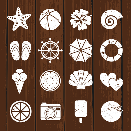 A set of vintage white flat design summer icons on wooden background. Vector
