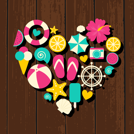 A set of colorful flat design summer travel icons in the shape of a heart on wooden background. Vector