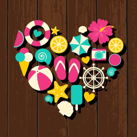 hibisco: Un conjunto de coloridos iconos de viajes planos de diseño de verano en la forma de un corazón en el fondo de madera.