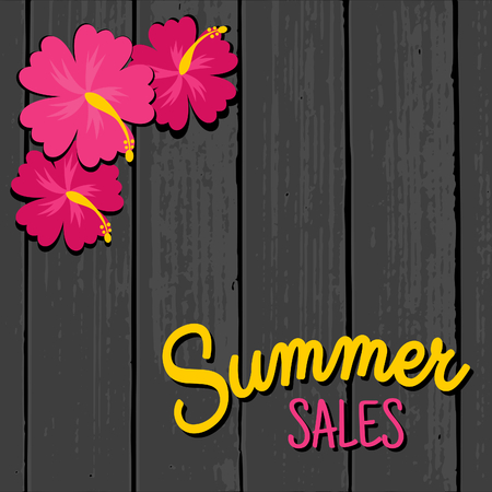 end of summer: Summer sales design with hibiscus flowers in vibrant pink on a grey wooden background. Illustration