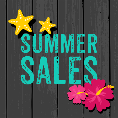 Summer sales design with hibiscus flowers in vibrant pink and yellow starfish on a grey wooden background. Illustration