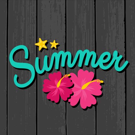 ropa de verano: Dise�o de rebajas de verano con flores de hibisco en rosa vibrante sobre un fondo de madera gris. Vectores