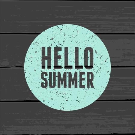 minimalista: Minimalista stílusú plakát pasztell kék színű kört egy szürke fa háttérben. Hello Summer.