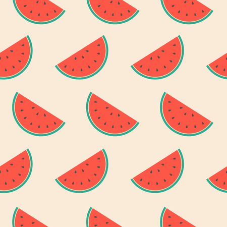 Seamless repeat pattern with watermelon slices. Vectores