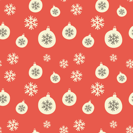 Retro style seamless Christmas pattern with baubles and snowflakes in orange, white and brown. Vector
