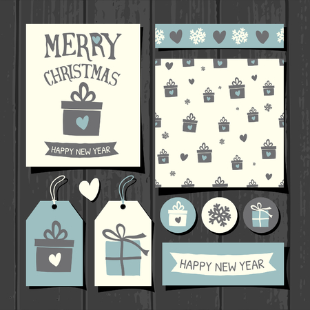 square tape: A set of Christmas gift tags, stickers, greeting card template, seamless pattern and washi tape on a gray wooden background.