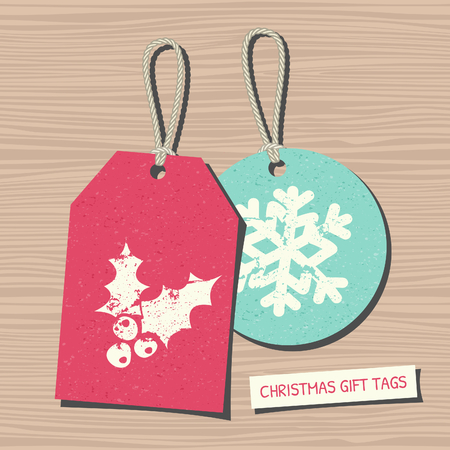 A set of two vintage Christmas gift and sale tags on wooden background. Vector