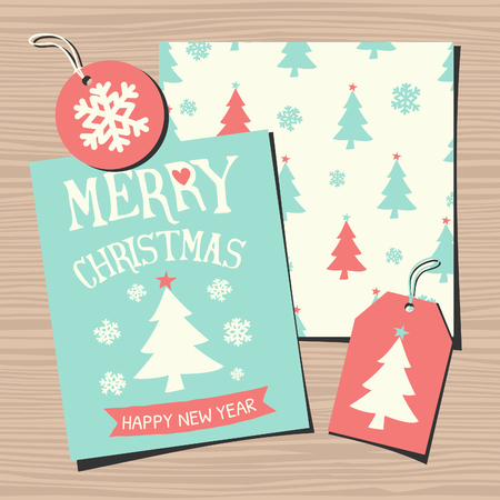 A set of Christmas greeting card template, a seamless pattern, a gift tag and a round sticker on wooden background. Vector