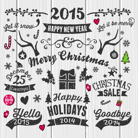 A set of vintage style Christmas and New year elements on white wooden background. Typographic designs, hand-drawn labels, tags and embellishments. Vector