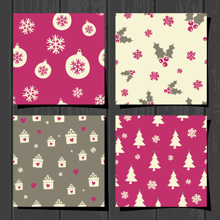 A set of retro style seamless Christmas patterns on gray wood background. Vector