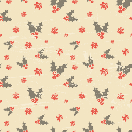 Retro style seamless Christmas pattern with holly leaves in orange and brown. Vector