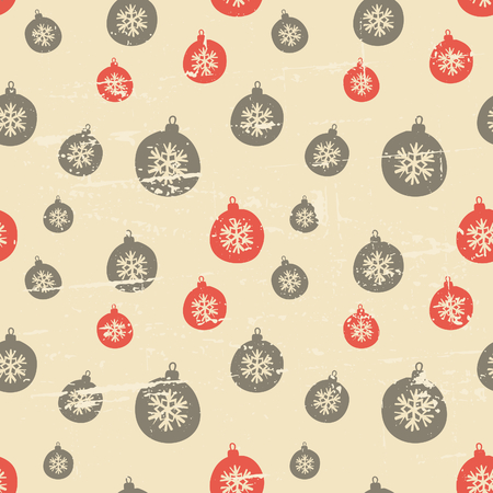 Retro style seamless Christmas pattern with baubles in orange and brown. Vector