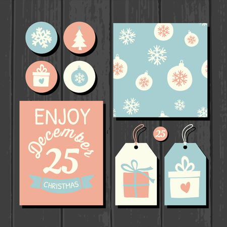 A set of Christmas gift tags, stickers, greeting card template and a seamless pattern on a gray wooden background. Vector