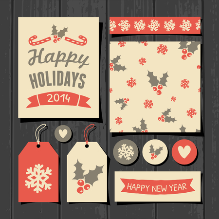 A set of Christmas gift tags, stickers, greeting card template, seamless pattern and washi tape on a gray wooden background. Vector