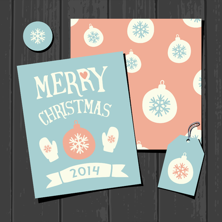A set of Christmas greeting card template, a seamless pattern, a gift tag and a round sticker on a gray wooden background. Vector