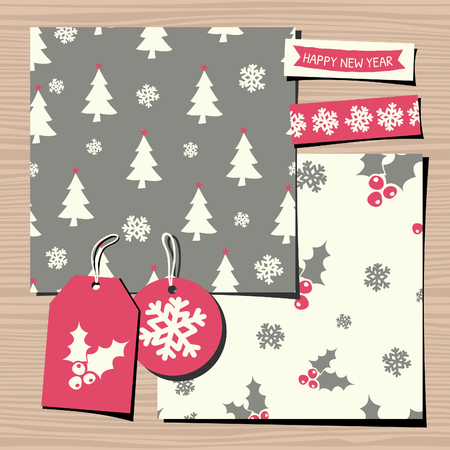 A set of twoo Christmas seamless patterns, two gift tags and two washi tapes on wooden background. Vector