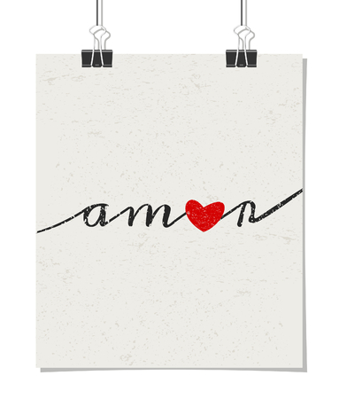 amor: Vintage style poster for Valentines Day with a pastel pink heart and text amor - Spanish for love. Poster design mock-up with paper clips, isolated on white. Illustration