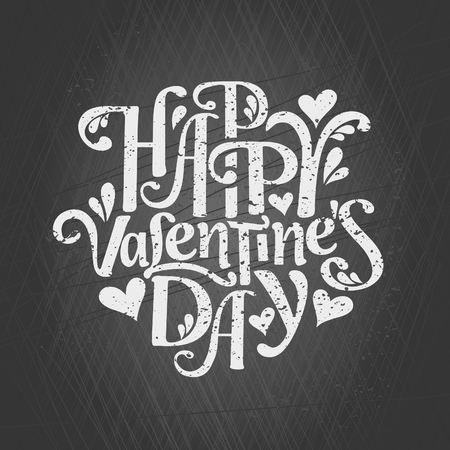Typographic chalkboard design greeting card for Valentines Day. Happy Valentines Day. Vector