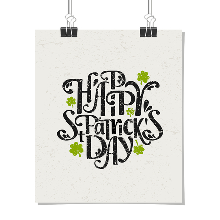 Typographic style poster for St. Patricks Day with message Happy St. Patricks Day. Poster design mock-up with paper clips, isolated on white. Vector