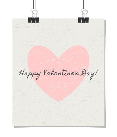 Vintage style poster for Valentines Day with a pastel pink heart and text Happy Valentines Day!. Poster design mock-up with paper clips, isolated on white. Vector