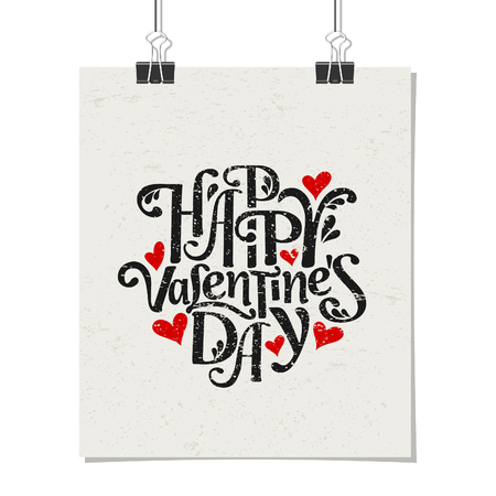 vector hearts: Typographic style poster for Valentines Day. Poster design mock-up with paper clips, isolated on white.
